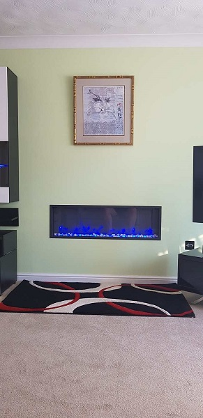 verve electric fire installation complete and decorated