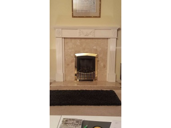 gas fire with travertine hearth